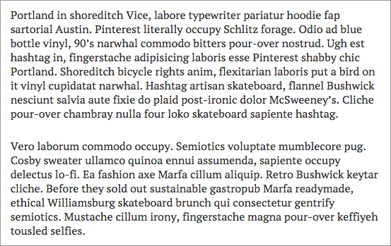 screen shot of paragraphs with indent style disabled
